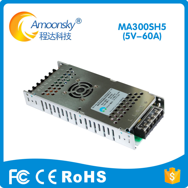 Ultra-thin Special LED Display Switching Power Supply 200-240VAC Input, 5V 60A 300W Output