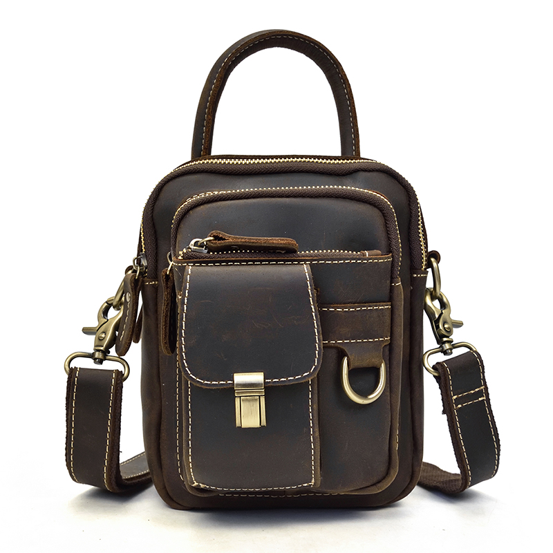 Luufan Genuine Leather Mini Shoulder Bag Small Crossbody Bags Male Female messenger bag phone pocket cowhide