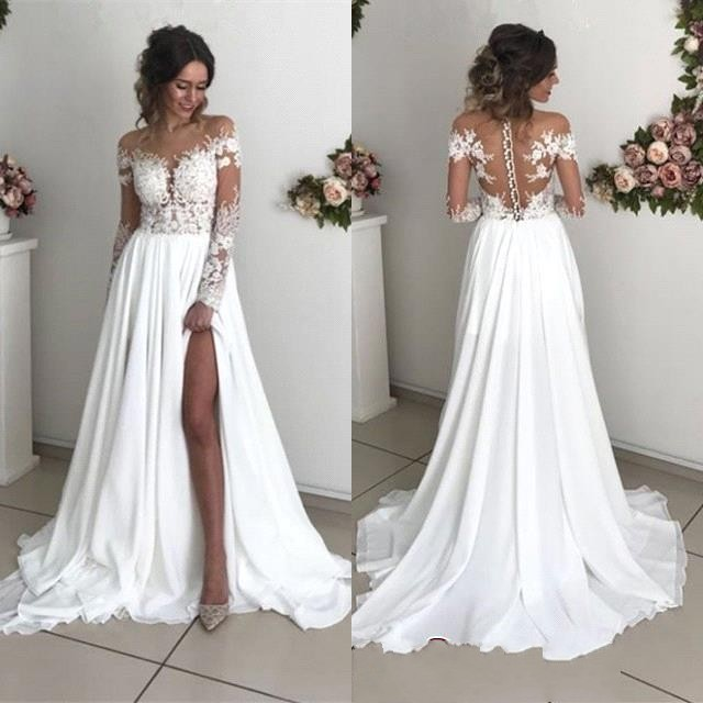 Long Sleeve Lace Boho Wedding Dresses