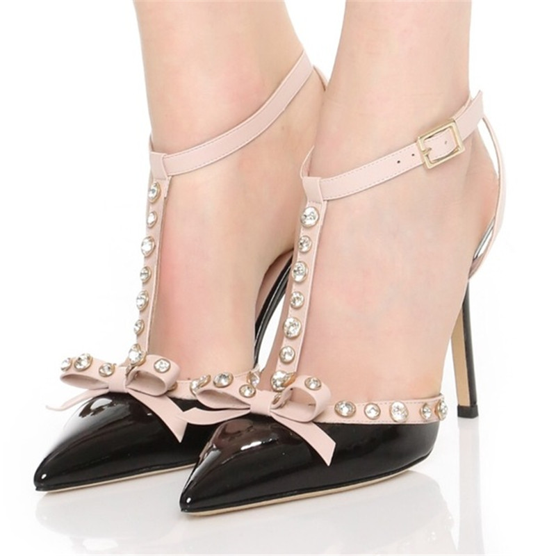 New Fashion Brand Pointed Toe High Heels Pumps T Strap Crystal Bowtie Lady Pumps Design Wedding Dress High Heels Shoes WomenNew Fashion Brand Pointed Toe High Heels Pumps T Strap Crystal Bowtie Lady Pumps Design Wedding Dress High Heels Shoes Women