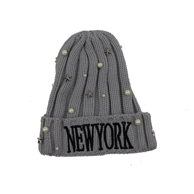 Letter Embroidery Winter Hats With Rhinestones Women Ladies Knitted Beanie Warm Hat Gorros Mujer Invierno in Women 39 s Skullies amp Beanies from Apparel Accessories