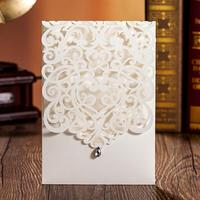 50pcs/pack White Elegant Engagement Card Wedding Invitation Birthday Party Cards Custom with Rhinestone & Laser Cut Flower