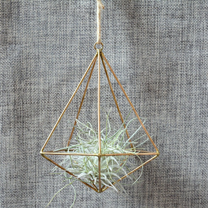 Metal Pot Rack Flower Container Terrarium Box Moss Fern Pot Decor Vintage Freestanding Hanging Geometric Tillandsia Flower Plant