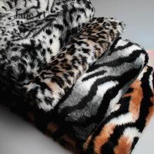 JaneYU Leopard Tiger Pattern Zebra Plush Faux Fur Cloth Costume Faux Fur Clothing Fabric Background Cloth Carpet Fabric faux fur embellished eyes pattern jumper