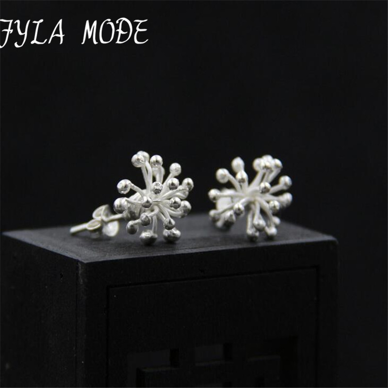 Fyla Mode S925 Sterling Silver Jewelry Personality Dandelion Stud Earring Handmade Thai Silver Female Simple Earrings 12*20mm