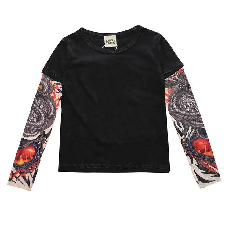 2019 Autunno Nuovi Ragazzi E Ragazze T-shirt Europeo E Americano Di Usura Dei Bambini A Maniche Lunghe Cuciture Hip Hop Manicotto Del Tatuaggio Un