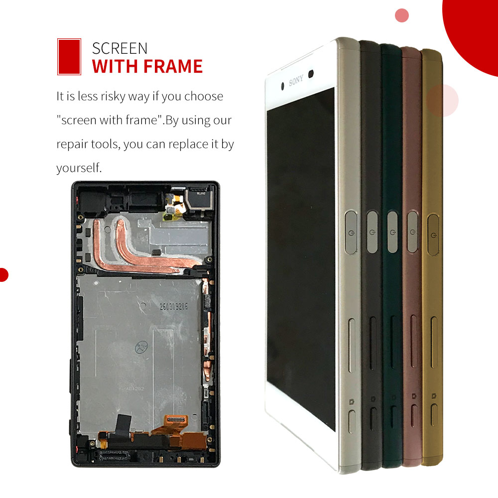 100% Original For SONY Xperia Z5 LCD Touch Screen For SONY Xperia Z5 Display Digitizer Assembly E6653 E6603 E6633 LCD with Frame