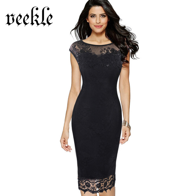VEEKLE Women 2017 Summer Plus Size Retro Vintage Bodycon Lace Embroidery Evening Party Black Red Work Pencil Office Dress Renda