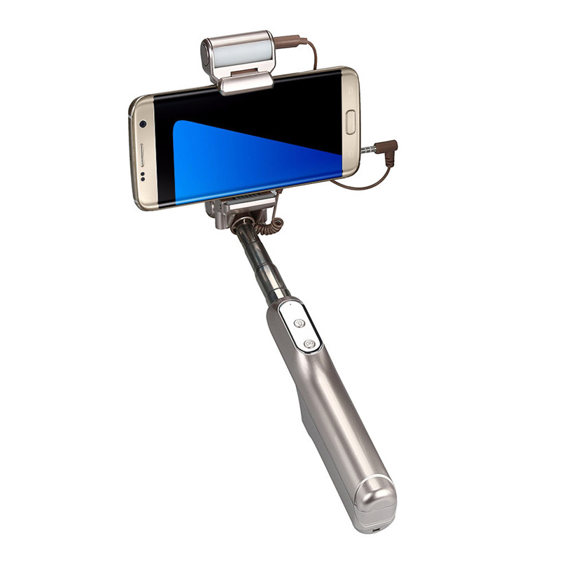 Luxury Wireless Mirror Selfie LED Fill Light Sync Flash Bluetooth Selfie Stick Monopod With Zoom for