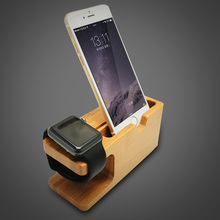 Natural Bamboo Stand Holder For Apple Watch 38mm 42mm Charger Station  Dock  Holder for For iPhone 6 7 Plus  all phones