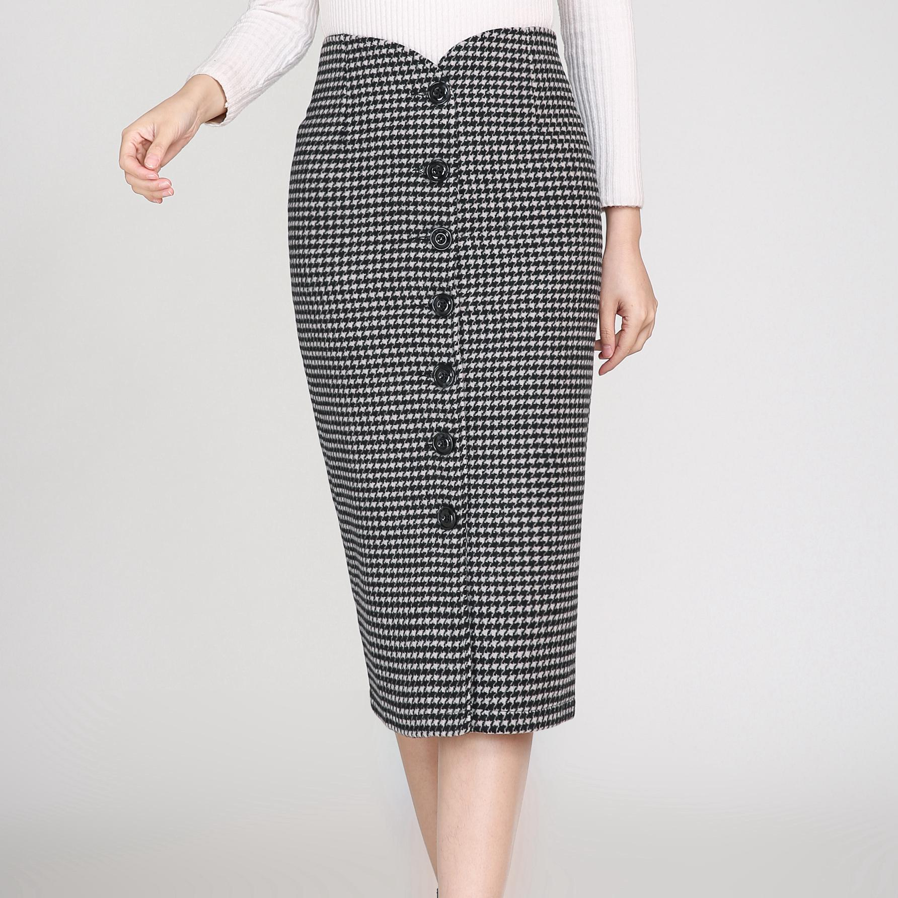 Woman Spring Plus Size Empire Geometric Single-breasted Straight 50% Wool Knee-length Skirts Female Autumn Slim Thick Warm Skirt