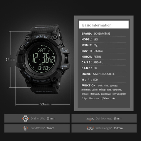 New SKMEI Men Sports Watches S SHOCK Military Compass Pedometer Calories Digital Watch Men Waterproof Electronic Wristwatch Mens Multan