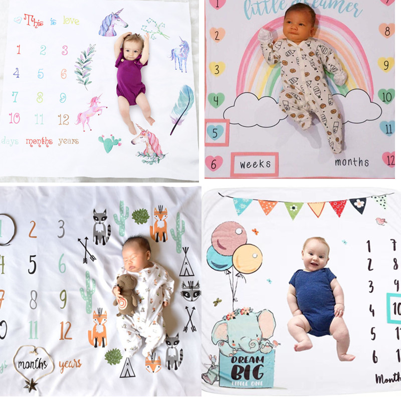 Unisex Baby Milestone Blanket Newborn Photography Photo Props Cartoon Animal Toddler Memorial Day Monthly Background Cloth