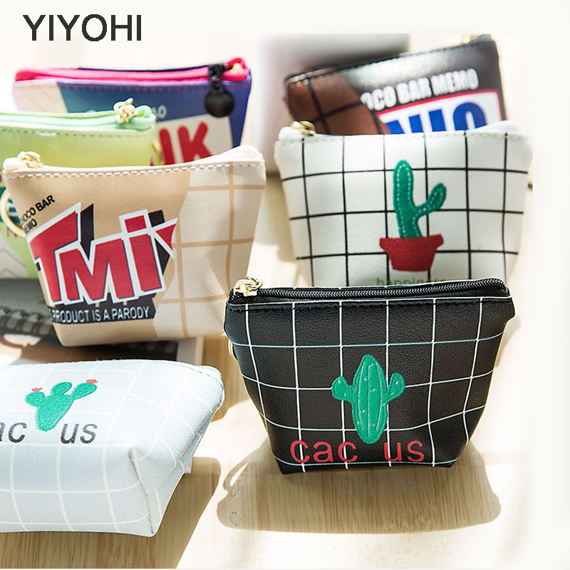 YIYOHI 2017 PU Cute Simple Style Cactus Zipper Plush Square Coin Purse Kawaii Children Coin Bag Women Wallets With Key Chain купить