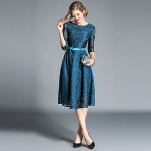 Image 3 - Borisovich Women Casual Dress New Brand 2018 Autumn Fashion Hollow Out Lace Big Swing Elegant Ladies Evening Party Dresses M843