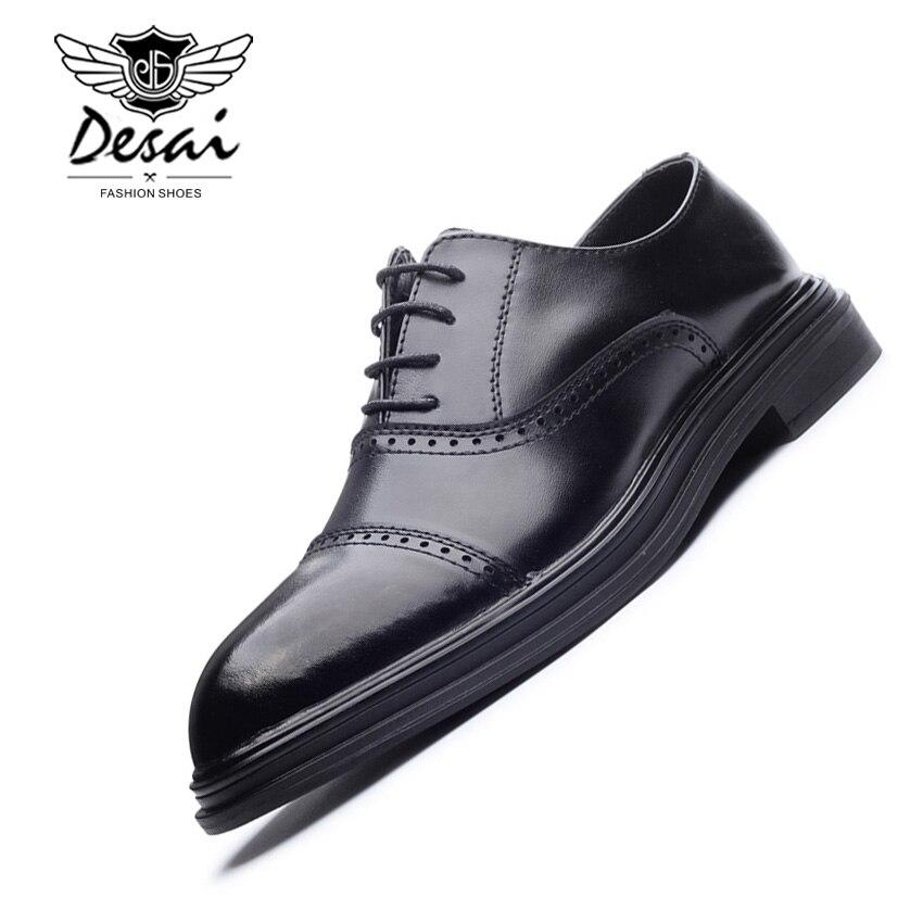 DESAI Shoes Men Leather Casual Shoes Solid Color Breathable Flats Shoes Men Business Footwear Lace Up