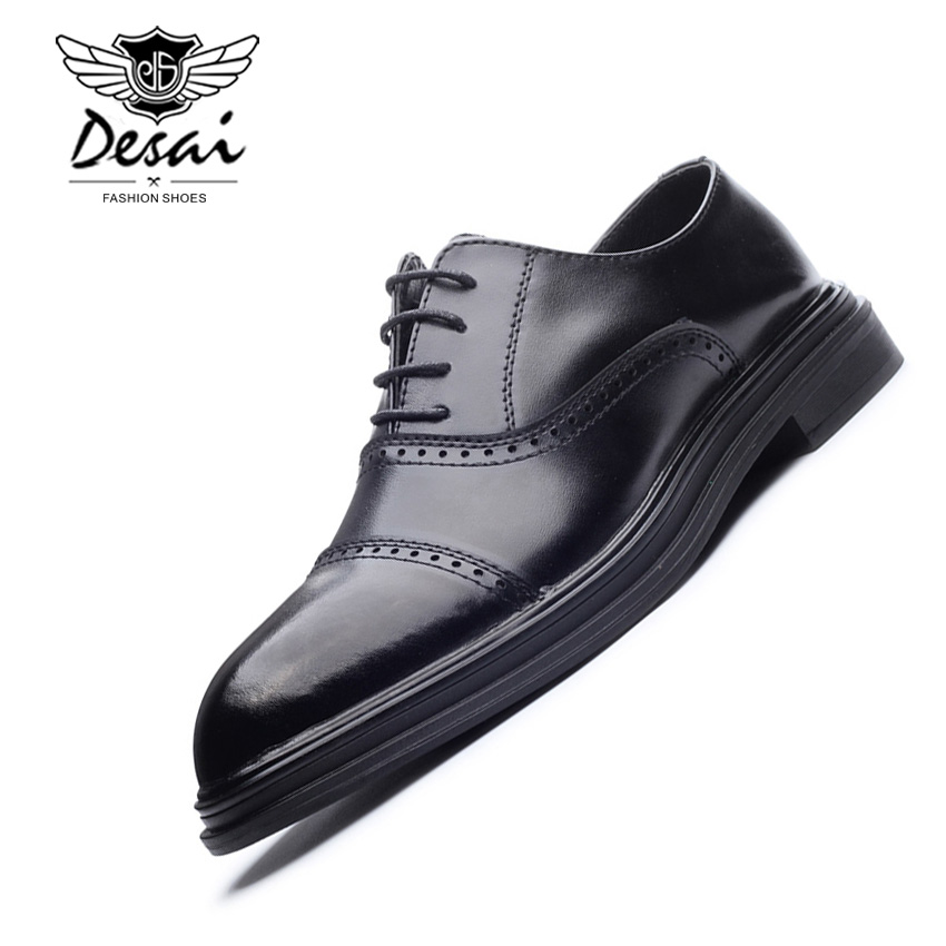 DESAI Shoes Men Leather Casual Shoes Solid Color Breathable Flats Shoes Men Business Footwear Lace-Up Wear Comfort Size 38-44 tangnest men pu leather shoes 2017 british style men lace up casual shoes solid platform flats for male comfort shoes xmr2422