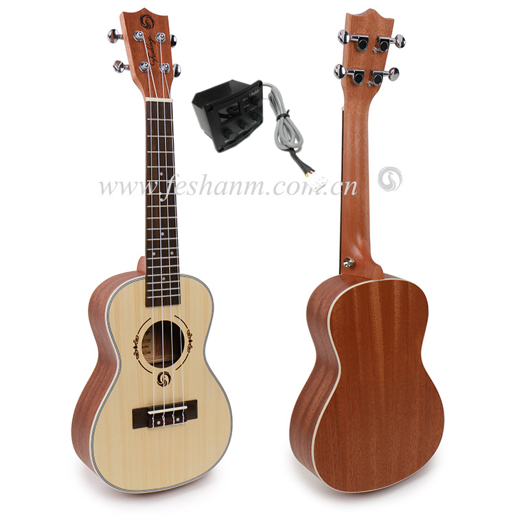 Free shipping 23 Concert With Full Mahogany Top/Body Electric Acoustic ukulele 23,Hawaii Ukelele guitar,chinese guitarras,Satin magnum live in concert