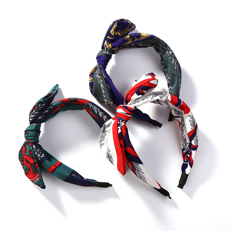 New Arrival Wide Knotted Hair Accessories Flower Leaf Print Bowknot Headwear Big Bow Headbands for Women Girls Party Headdress