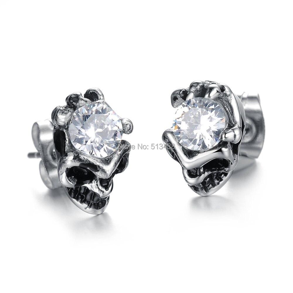 White Cubic Zircon & 316l Stainless Steel Biker Skull Studs Earring For Men  Gift(china