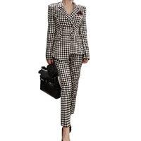 2017 frauen Zwei Stück Hose Anzüge Frauen Casual Büro Business anzüge Formalen Arbeitskleidung Sets Uniform Blazer Slim Karierten Hose anzüge