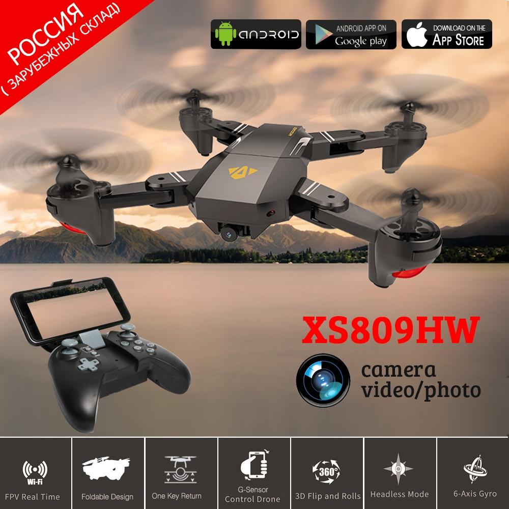 VISUO XS809HW FPV RC Quadcopter Drone Con 0.3MP/2MP WiFi della macchina fotografica 2.4G-Axis Mantenimento di Quota Pieghevole RC Elicottero VS H47