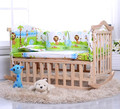 Environmental Protection Baby Bed Solid Wood Baby Crib Multifunctional Baby Cradle Rocking Baby Swing with Bedding
