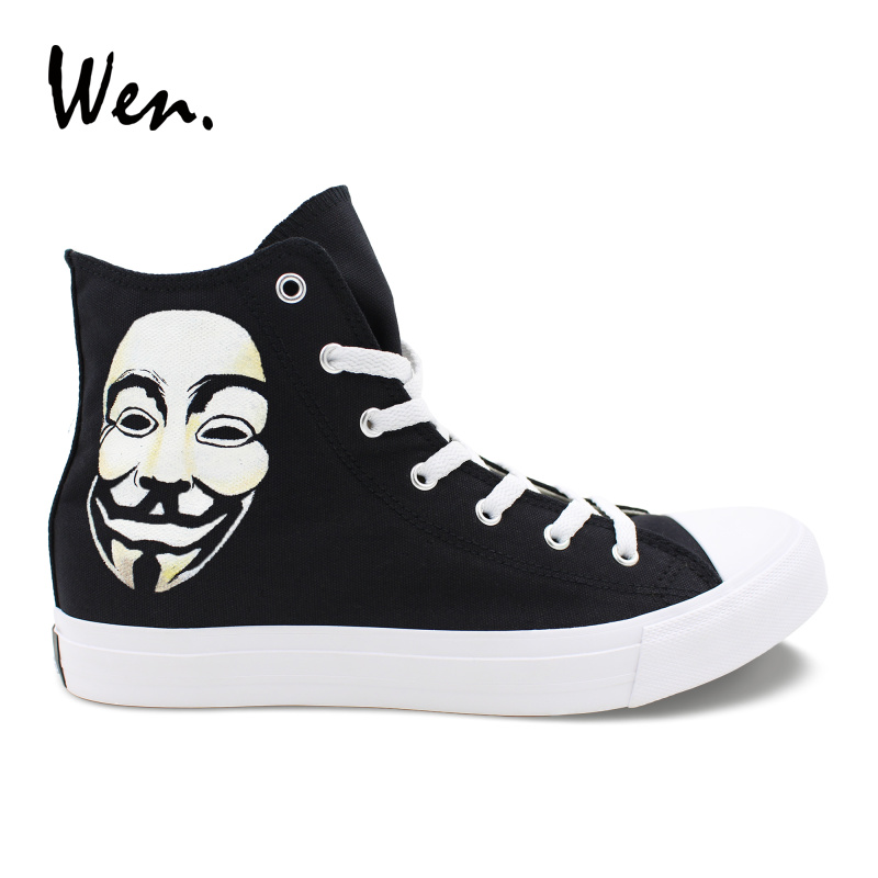 Wen Design Hand Painted Custom Shoes V For Vendetta Canvas High Top Shoes Men Black Sneakers Women Vulcanize Plimsolls