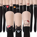 new thin fashion children girls tights kitty cute pantyhose cartoon youth tattoo velvet tights for girls stockings spring summer