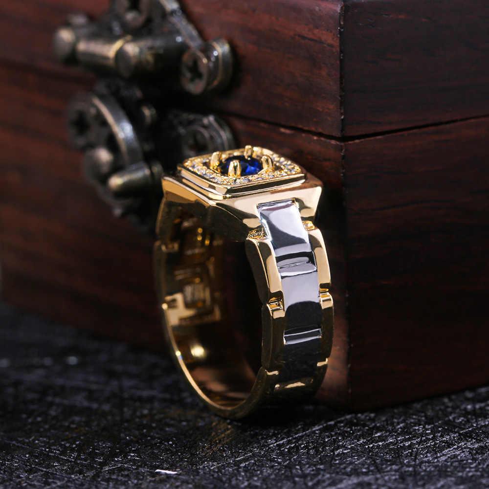 Sang trọng Nhỏ Pha Lê Xanh Dương Nhẫn Đính Đá Zircon Nam Nữ Vàng Cưới Vàng Ban Nhạc Trang Sức LỜI HỨA Nhẫn Cho Nam Và Nữ