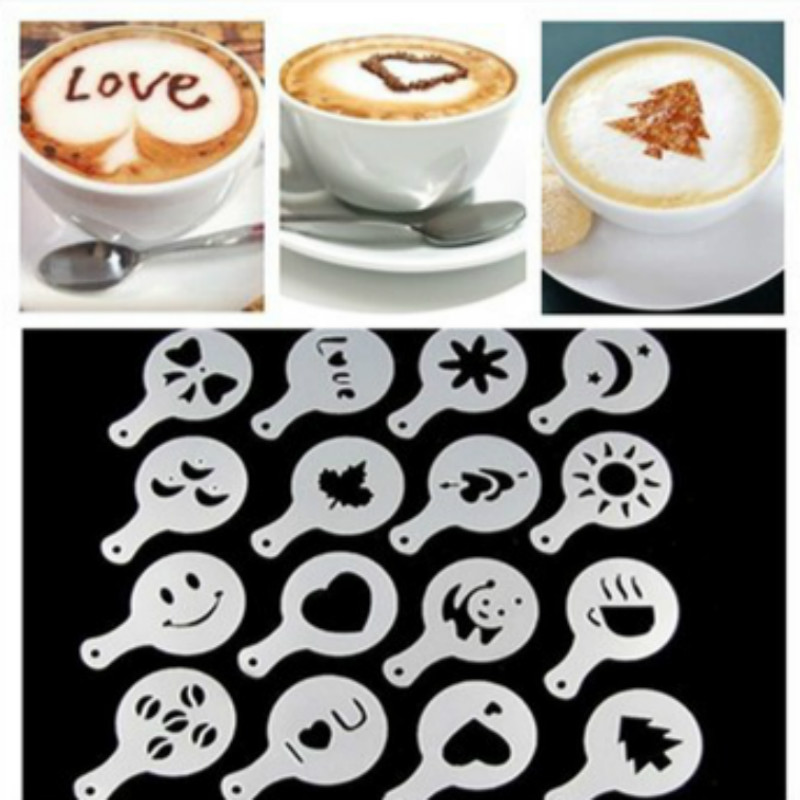 2019 New 16 Pcs Coffee Drawing Mold Fancy Natie Printing Model Coffee Foam Spray Cake Stencils Powdered Sugar Sieve Tool
