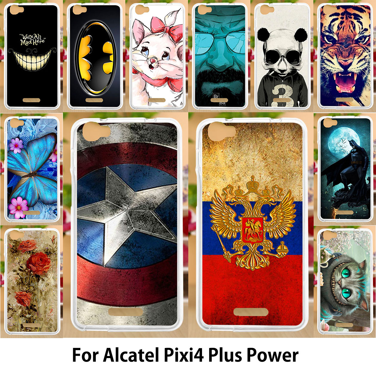 Galleria fotografica AKABEILA Cases For Alcatel Pixi 4 Plus Power 5023 Case 5023E 5023F Pixi4 Plus Power Silicone Soft TPU <font><b>Covers</b></font> Painted Phone Shell