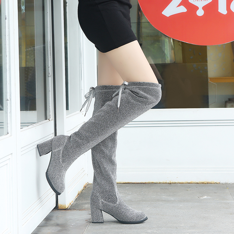 Detail Feedback Questions about Lucyever New Design Women Fashion High Heels  Bling Over The Knee Boots Autumn Winter Luxury Glitter Thigh High Botas  Mujer ... 96a0ddf0b1ba