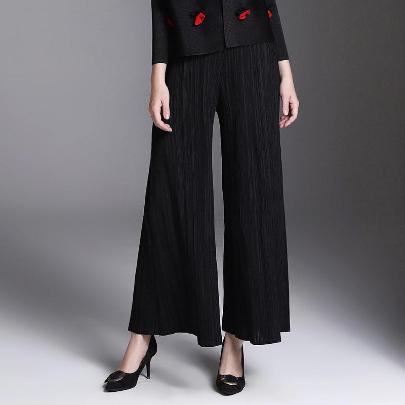 Invierno Largos Pierna De Sólido Las Suelta Pantalones Otoño Black Mujeres Falda grey Color dvwv1aq
