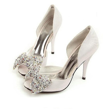 Beautiful Peep toe with bow Rhinestone high heels bridal shoes party shoes Silver Genuine Leather Wedding Dress Shoes