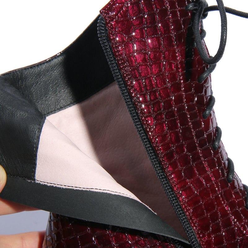 Talla Martin Cuero Alto Vaca 42 Tacón De Grande Tobillo Zapatos Mujer Cordones Puntiagudas 100 Con Botas rojo Negro Genuino tz6qx