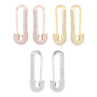 Slovecabin 925 Sterling Silver 2019 France Three Micro Pave Safety Pins Pulse Ear Cuff Single Earring CZ Crystal Brand Jewelry