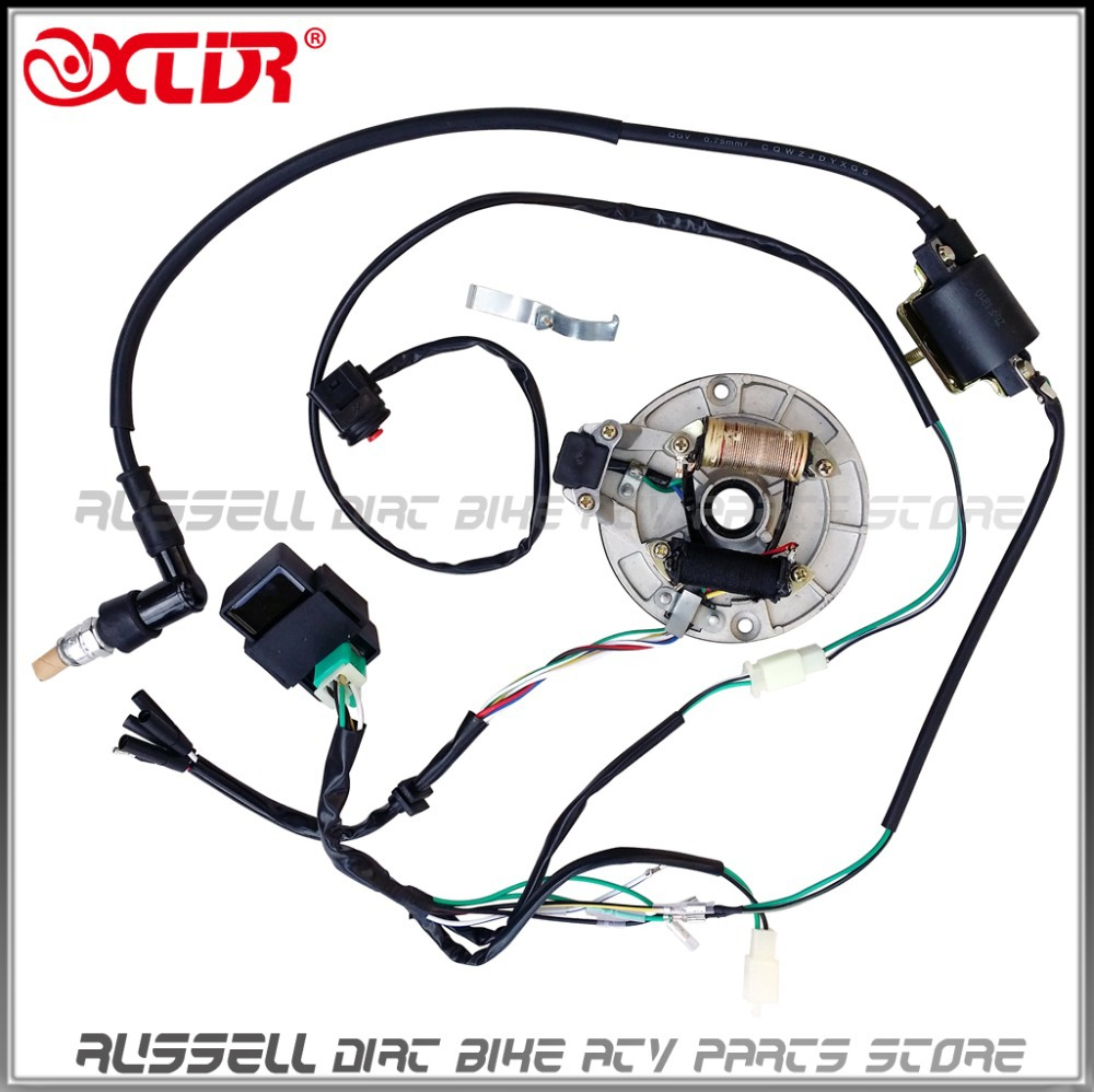 WIRE HARNESS CDI Coil MAGNETO STATOR Kill Switch Spark Plug 125cc PitDIRT BIKE wire harness cdi coil magneto stator kill switch spark plug 125cc spark plug wire harness at reclaimingppi.co