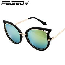 FEISEDY Fashion Retro Sexy Cat Eye Sunglasses Women Brand Designer Vintage Metal Frame Coating Sun Glasses Lunettes Gafas Oculos