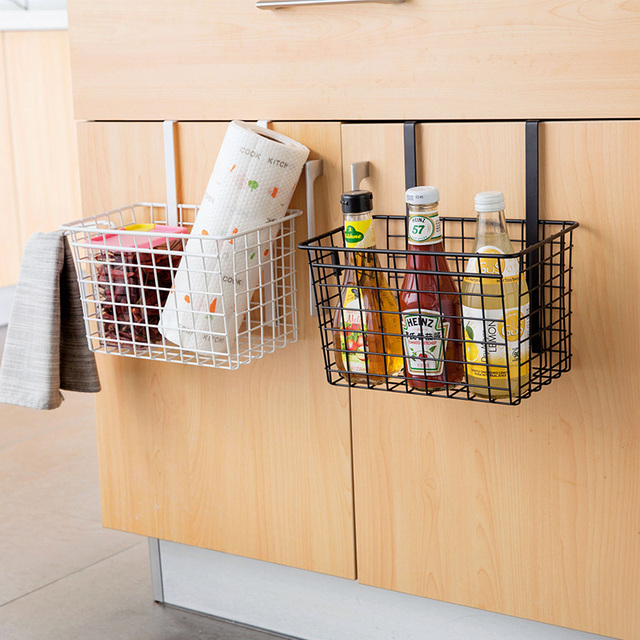 Simple style iron metal storage basket with hook for - Bathroom storage cabinet with baskets ...