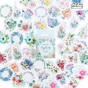 46pcs/box Fresh flower language Diary Decoration Stickers DIY Planner Scarpbooking sealing Label Sticker Children Stationery