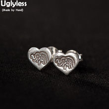 Uglyless Handmade Elephant MINI Stud Earrings for Women Real Solid 925 Silver Heart Studs Thailand Ethnic Thai Silver Fine Jewel(China)