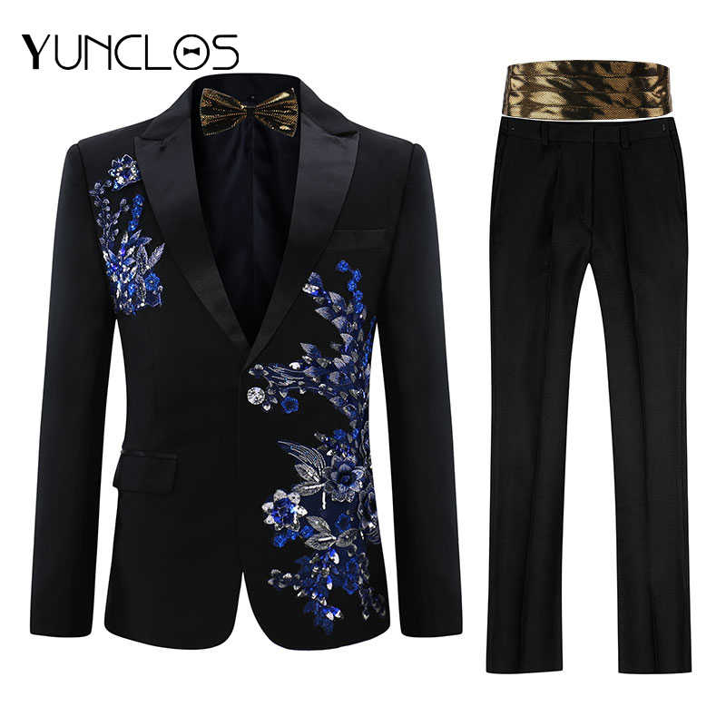 Yunclos Eu Size Mannen Applique Pak Party Dress 2 Stuks (Bowtie) smoking Slim Fit Masculino Luxe Diamant Bruiloft Suits