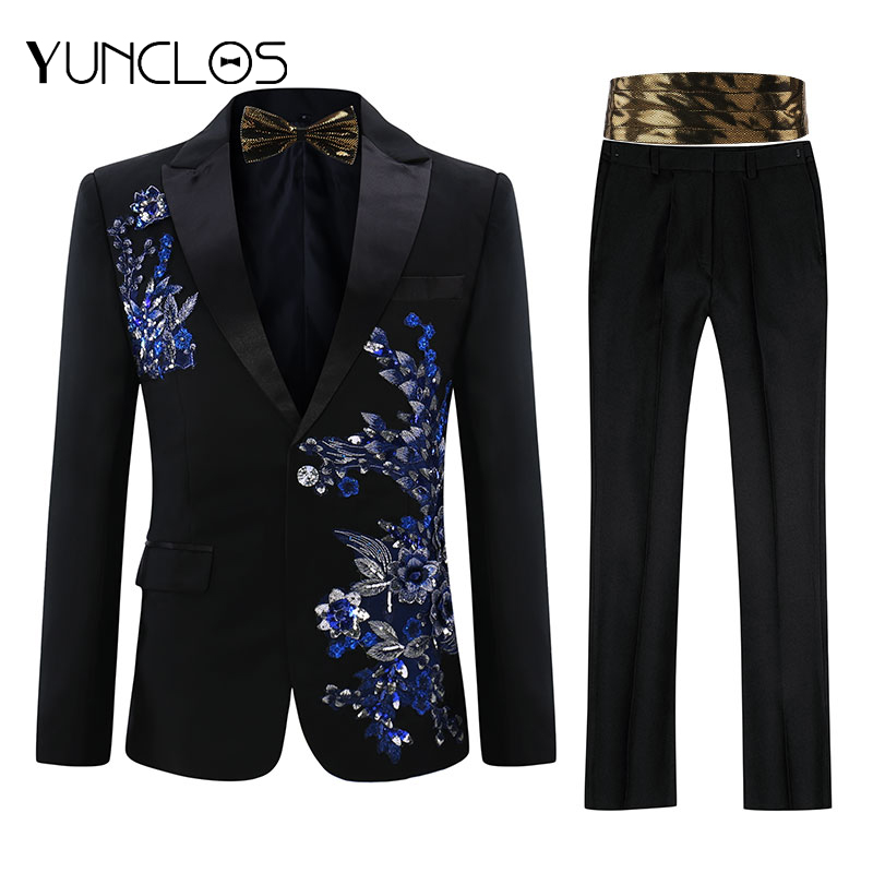YUNCLOS EU Size Men Applique Suit Party Dress 2 Pieces(Bowtie) Tuxedos Slim Fit  Masculino Luxury Diamond  Wedding Party Suits