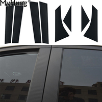 8pcs Set Carbon Fiber Vynyl Sticker Window Pillars Decal Stickers Trim Fit For 2012 Ford Focus
