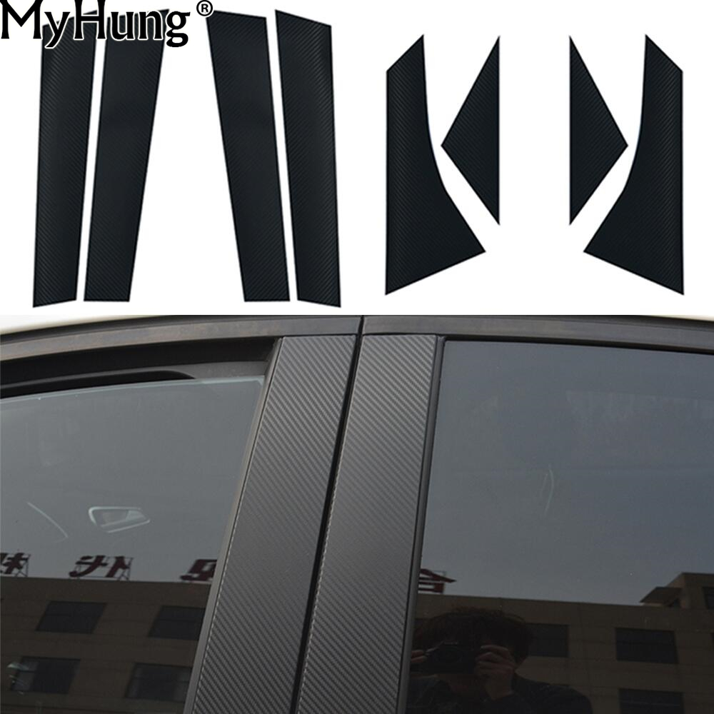 Car Window Pillars Decal Stickers Trim Fit For Ford Focus 2012 2013 2014 2015 2016 Carbon Fiber Sticker 8pcs Per Set Car-styling