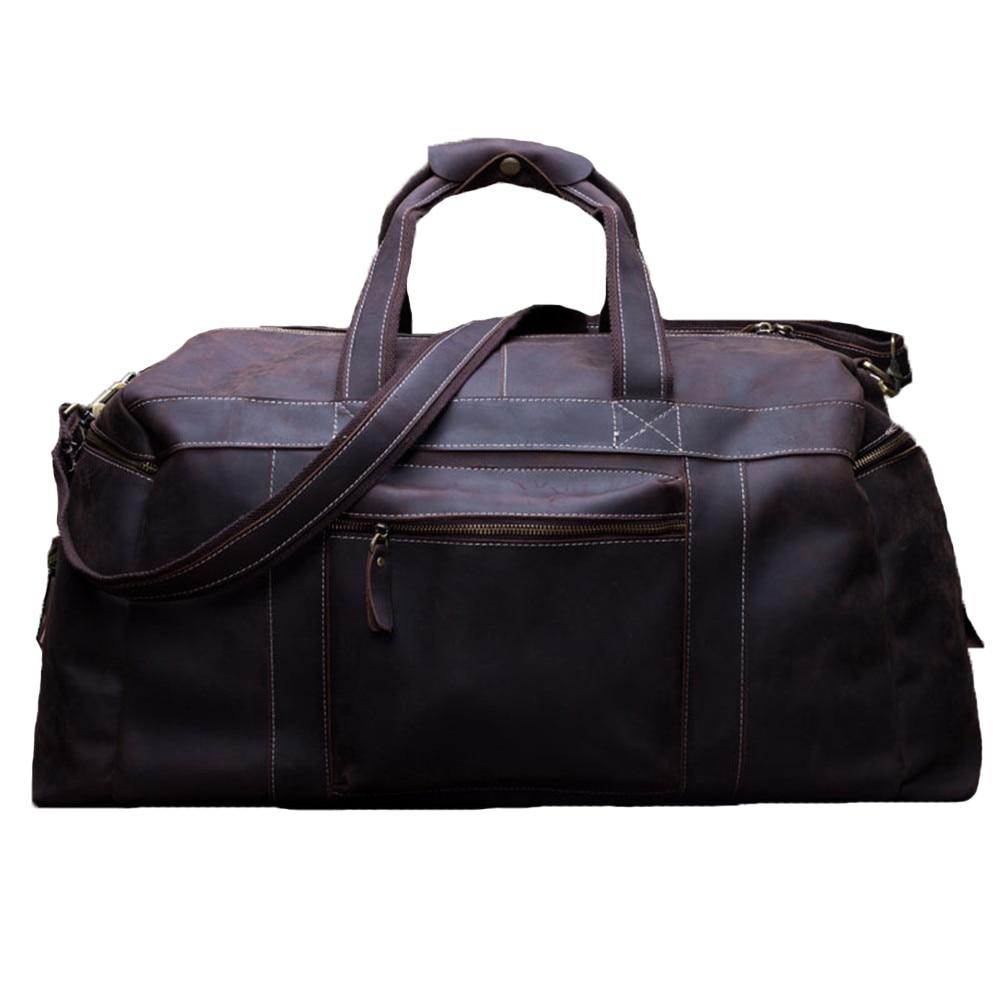 Weekend duffel bag male bag genuine leather business men's travel bag Crazy horse leather Large capacity Designer handbag 2017