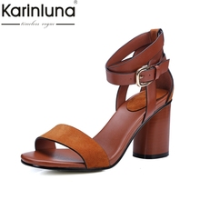 Karinluna 2018 discount brand cow suede leather good quality summer sandals shoes women high heels party shoes woman