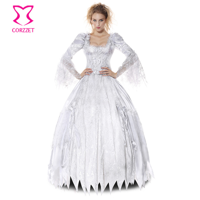 White Deluxe Gothic Sexy Costumes Women Cosplay Halloween Party Zombie  Ghost Bride Costume Vampire Dress Adult