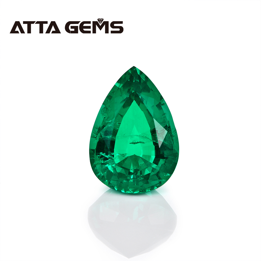 Columbian Emerald Stone in Pears Shape Hydrothermal Emerald Pears 7mm*9mm 1.5 Carats Weight for Wedding Personal Jewelry Design